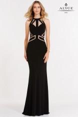 de3b1899182 Size 0 Black Alyce Paris 8013 Strappy Jersey Prom Gown