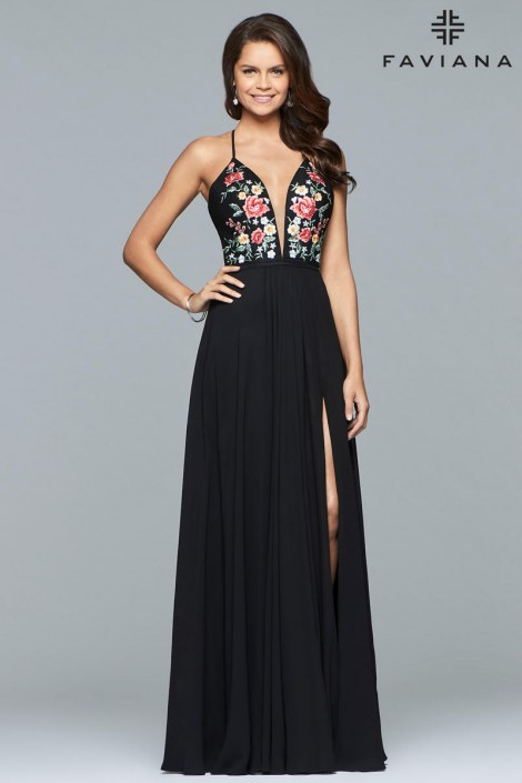 Faviana 10000 Deep V Floral Top Prom Gown: French Novelty