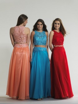 9759807287 Dave and Johnny 10001 Two Piece Gown with Lace