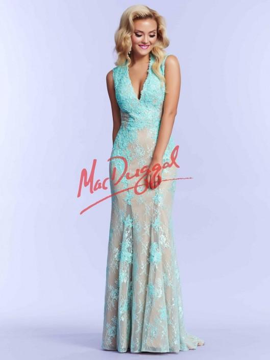 7453b634650 Mac Duggal 10042M Plunging V Neck Prom Dress  French Novelty