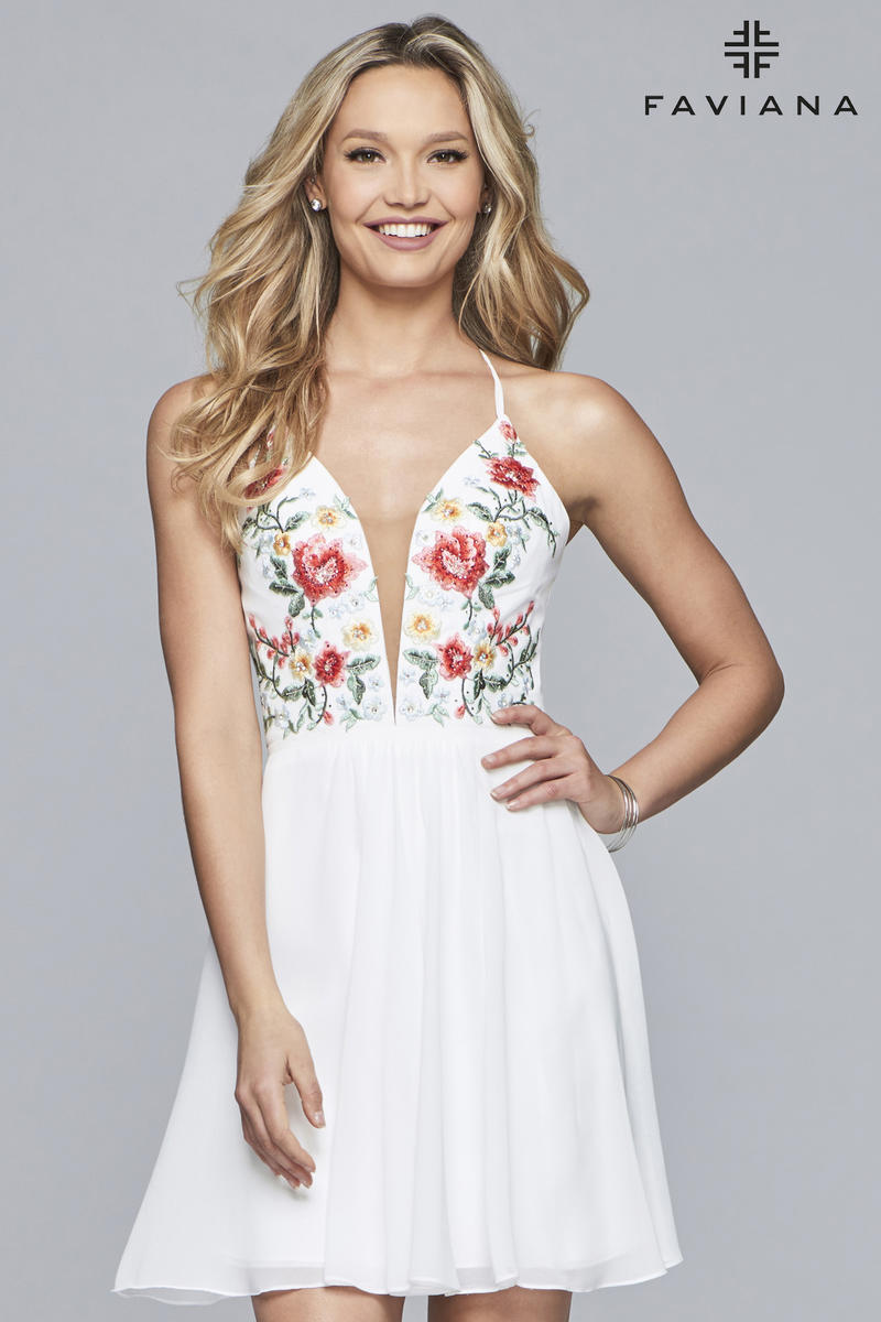 f369a63cc04b Faviana 10150 Floral Embroidered Short Homecoming Dress: French Novelty