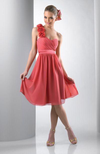 c3fec33f233 Rosette One Shoulder Short Bari Jay Bridesmaid Dress 102  French Novelty