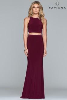 9984819962 Faviana 10206 Cut Out Back 2 Piece Prom Dress