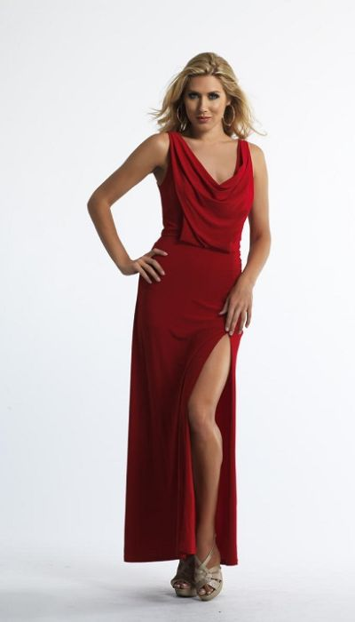 Dave And Johnny 10222 Draped Cowl Neck Long Dress French