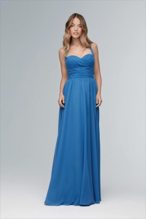 Size 12 Blue Aster Wtoo 103 Fun And Flirty Halter Bridesmaid Dress