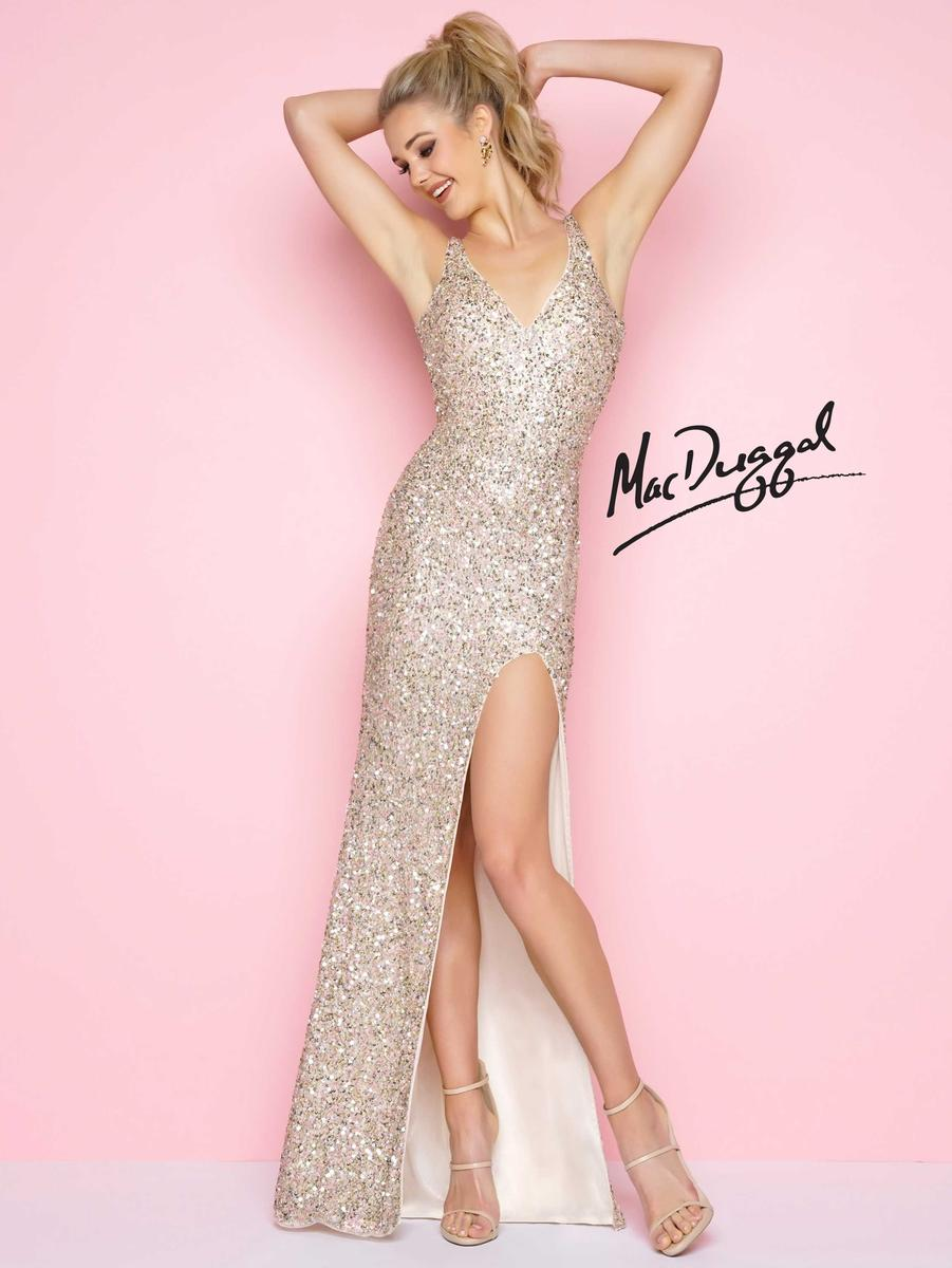 Flash by Mac Duggal 1068L Sequin High Slit Gown: French Novelty