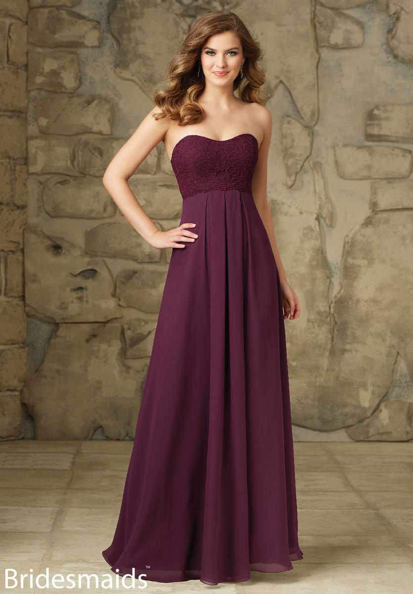 Mori Lee 107 Lace and Chiffon Bridesmaid Gown: French Novelty