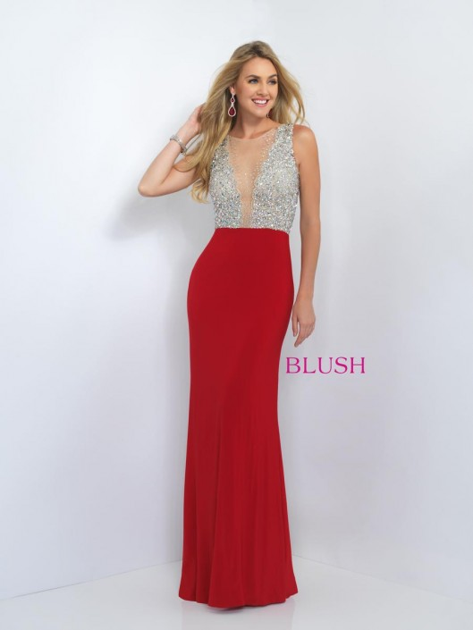 Blush 11009 Jersey Knit Prom Gown: French Novelty