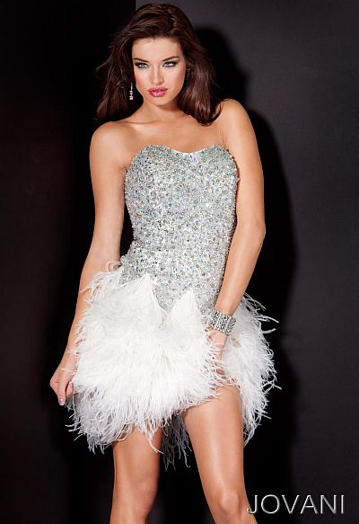 Jovani Short and Cocktail Beaded Feather Skirt Prom Dress 110424 ...