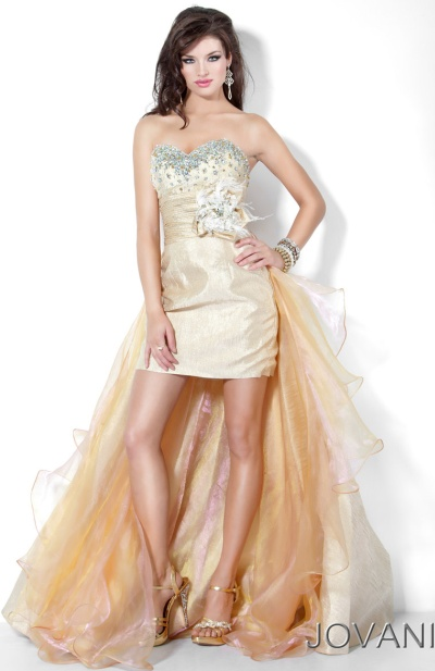 Gold and White High Low Prom Dresses