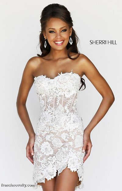 Sherri Hill 11054 Sheer Lace Corset Short Dress: French Novelty