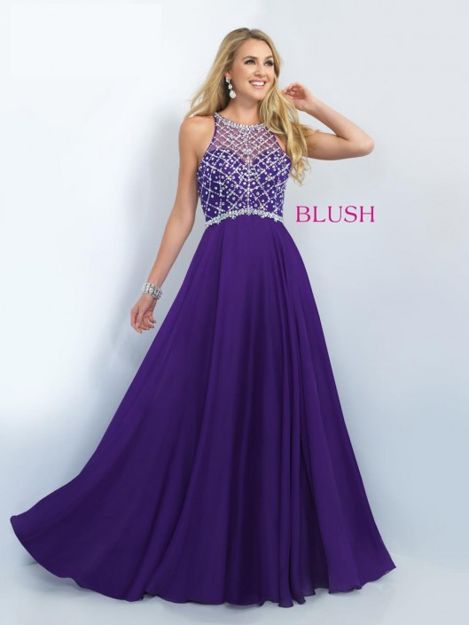Blush 11071 High Neck Long Prom Dress: French Novelty