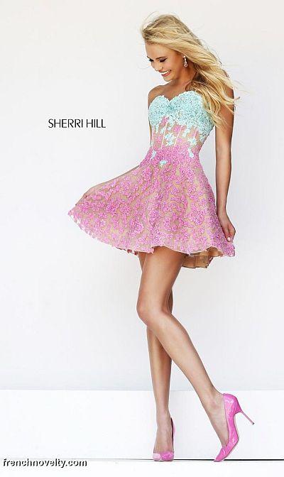 Sherri Hill 11101 Lace Illusion Short Dress French Novelty
