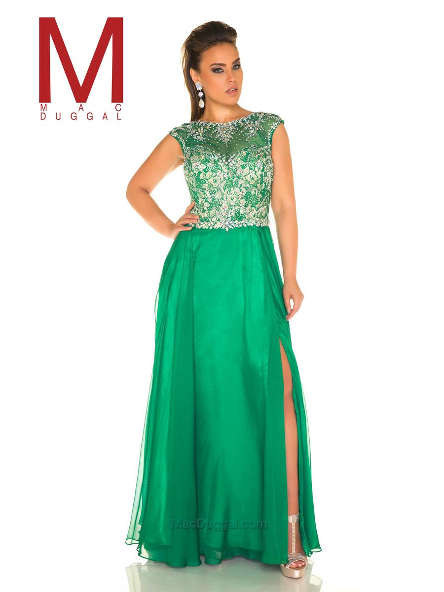 Mac Duggal Fabulouss 11102F Plus Size Colorful Lace Gown: French Novelty