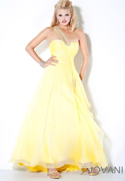 Jovani Yellow Ombre Long Chiffon Prom Dress 111037 French