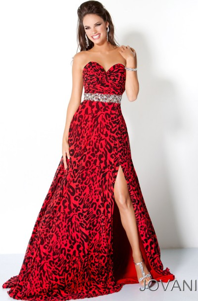 Jovani Red and Black Animal Spots Long Prom Dress 111041: French ...