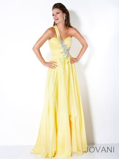 Jovani yellow one shoulder dress