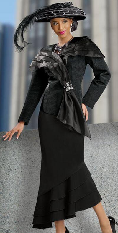 Donna Vinci 11127 Womens Church Suit With Organza Trim