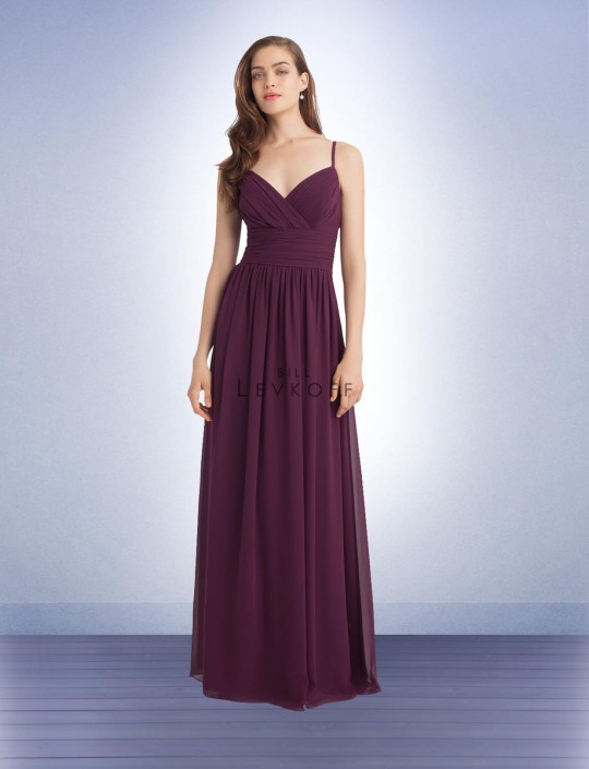 Bill Levkoff 1113 Spaghetti Strap Long Bridesmaid Dress