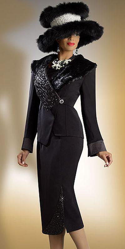 Donna Vinci 11133 Womens Black Church Suit With Faux Fur