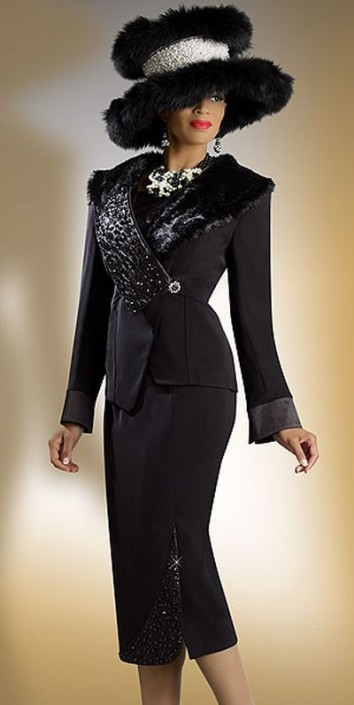 Donna Vinci 11133 Womens Black Church Suit With Faux Fur French Novelty