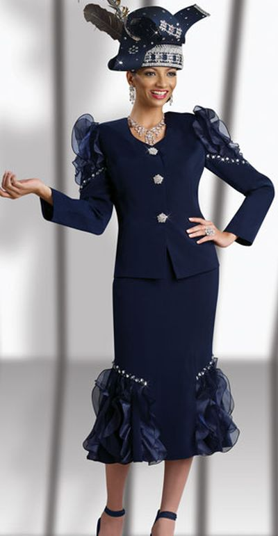 Donna Vinci 11134 Womens Navy Church Suit French Novelty