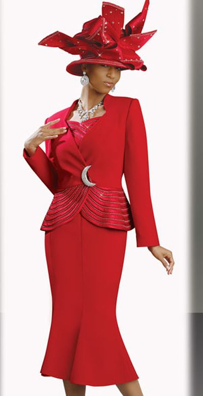 donna vinci 11136 womens red church suit with rhinestone