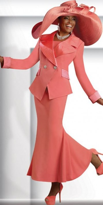 Donna Vinci 11137 Womens Coral Church Suit French Novelty
