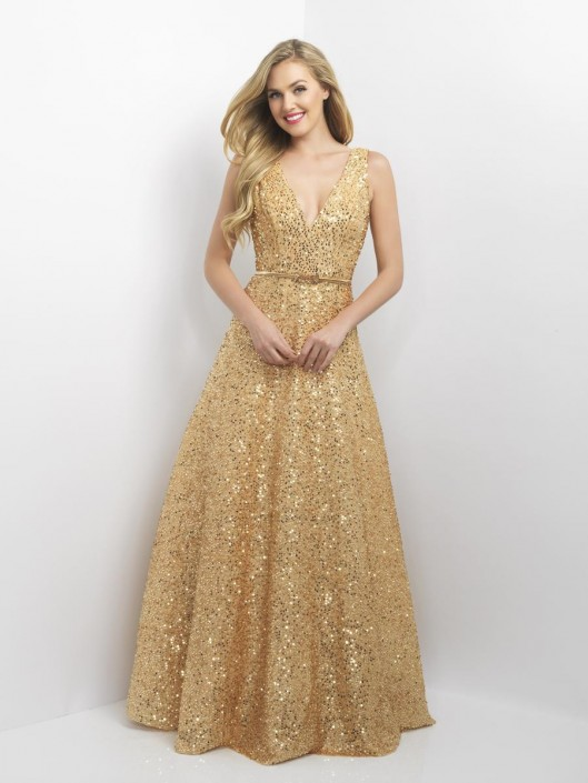 Blush 11139 Deep V Neck Sequin Gown French Novelty