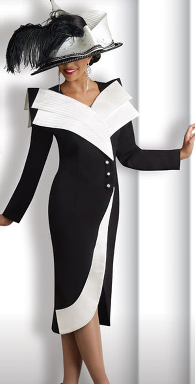 Donna Vinci 11139 Womens Black and Off-White Church Suit: French ...