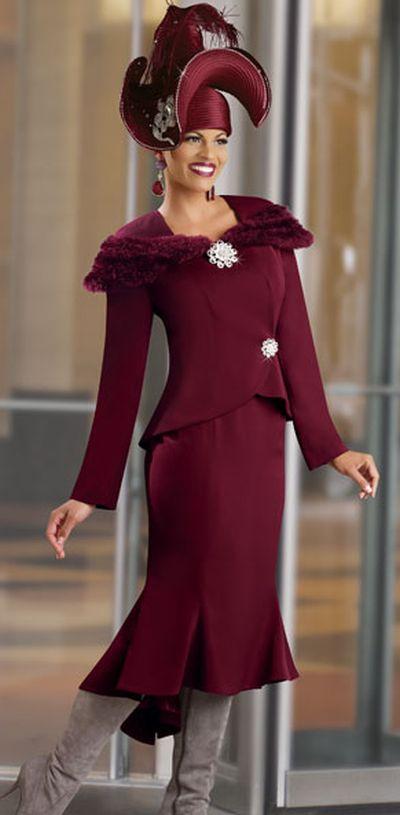Donna Vinci 11140 Womens Church Suit With Faux Fur