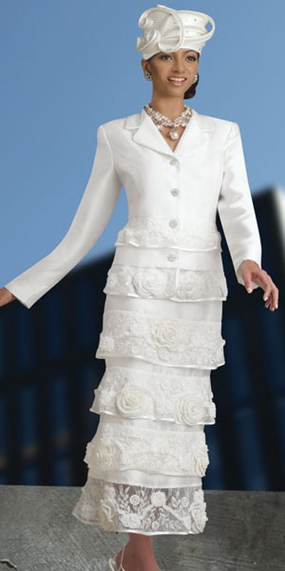 Donna Vinci 11146 Womens Ivory Embroidered Church Suit French Novelty