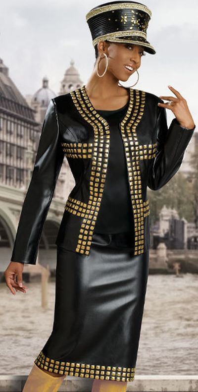 Donna Vinci 11147 Womens Black Church Suit With Gold Studs