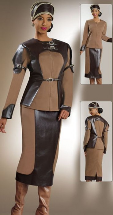 Donna Vinci 11150 Womens Brown Church Suit With Rhinestones French