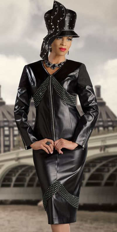 Donna Vinci 11151 Womens Church Suit With Faux Leather And