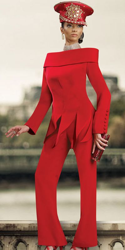 Donna Vinci 11162 Womens Red Church Suit French Novelty