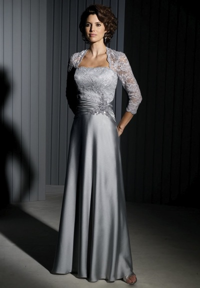 55ee606f74e8 Cameron Blake Evening Dress with Lace Sleeves 111676: French Novelty