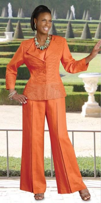 Donna Vinci 11194 Womens 2pc Linen Pant Suit: French Novelty