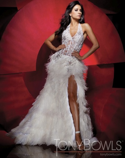 White Illusion and Feathers Tony Bowls Collection Pageant Dress ...