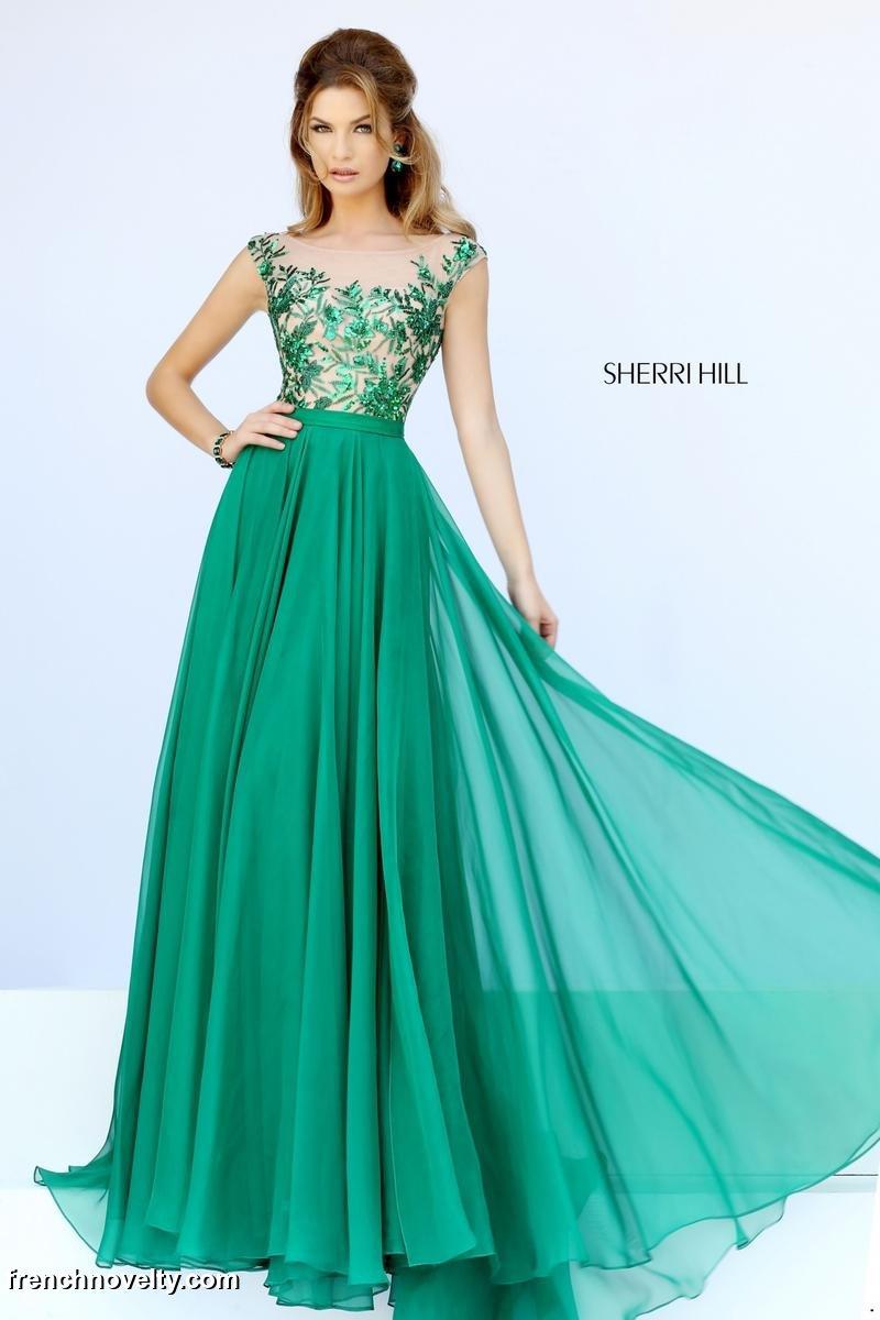 Sherri Hill 11214 Sheer Beaded Long Prom Dress: French Novelty