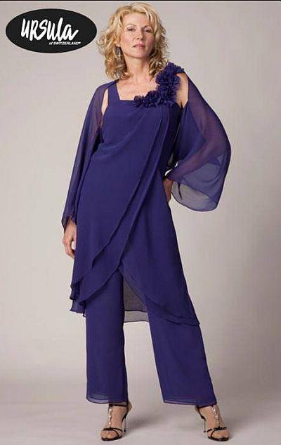 Ursula Plus Size Draped Chiffon Pant Set 41216 French Novelty