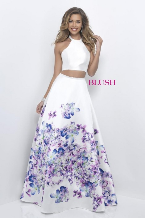 Blush 11218 Floral Print 2pc Prom Dress: French Novelty