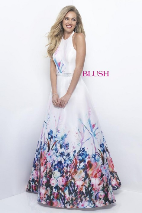 Blush 11229 Watercolor Floral Prom Dress: French Novelty