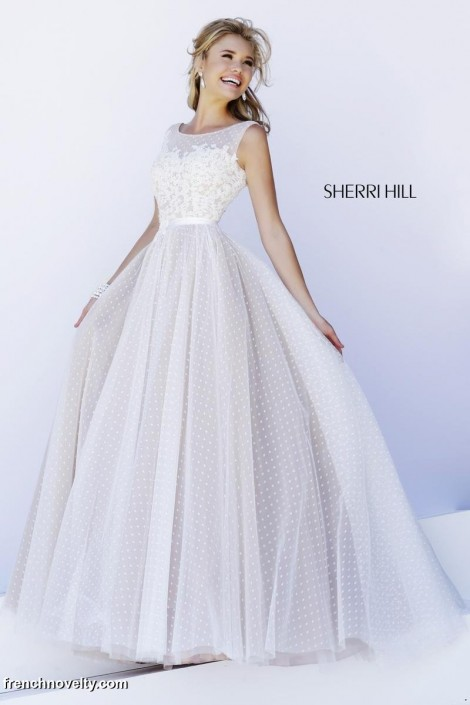 Sherri Hill 11230 Sheer Flowing Evening Dress French Novelty