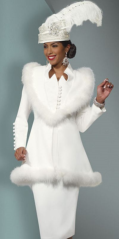 Donna Vinci Womens Feather Trim Church Suit 11249: French Novelty