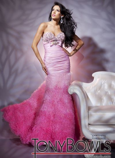 tony bowls le gala pink ombre chiffon mermaid prom dress