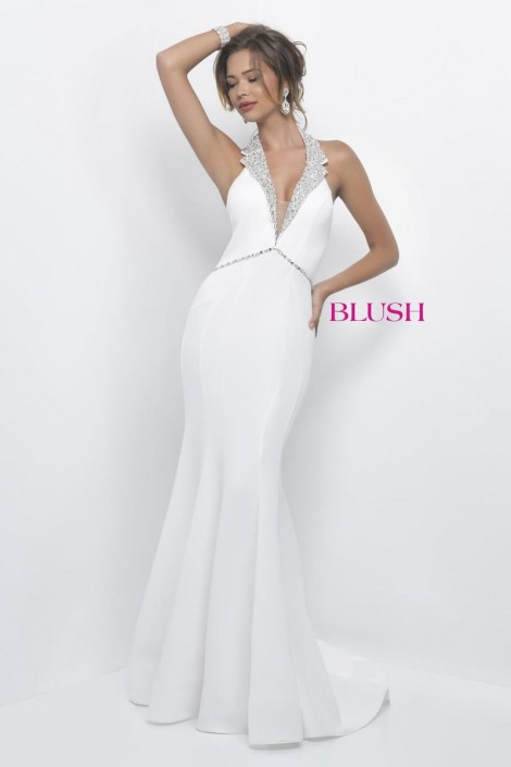 Blush 11298 Tux Collar Deep V Neck Gown: French Novelty