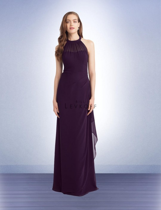 Bill Levkoff 1131 Sheer Hi-Neck Halter Bridesmaid Gown: French Novelty