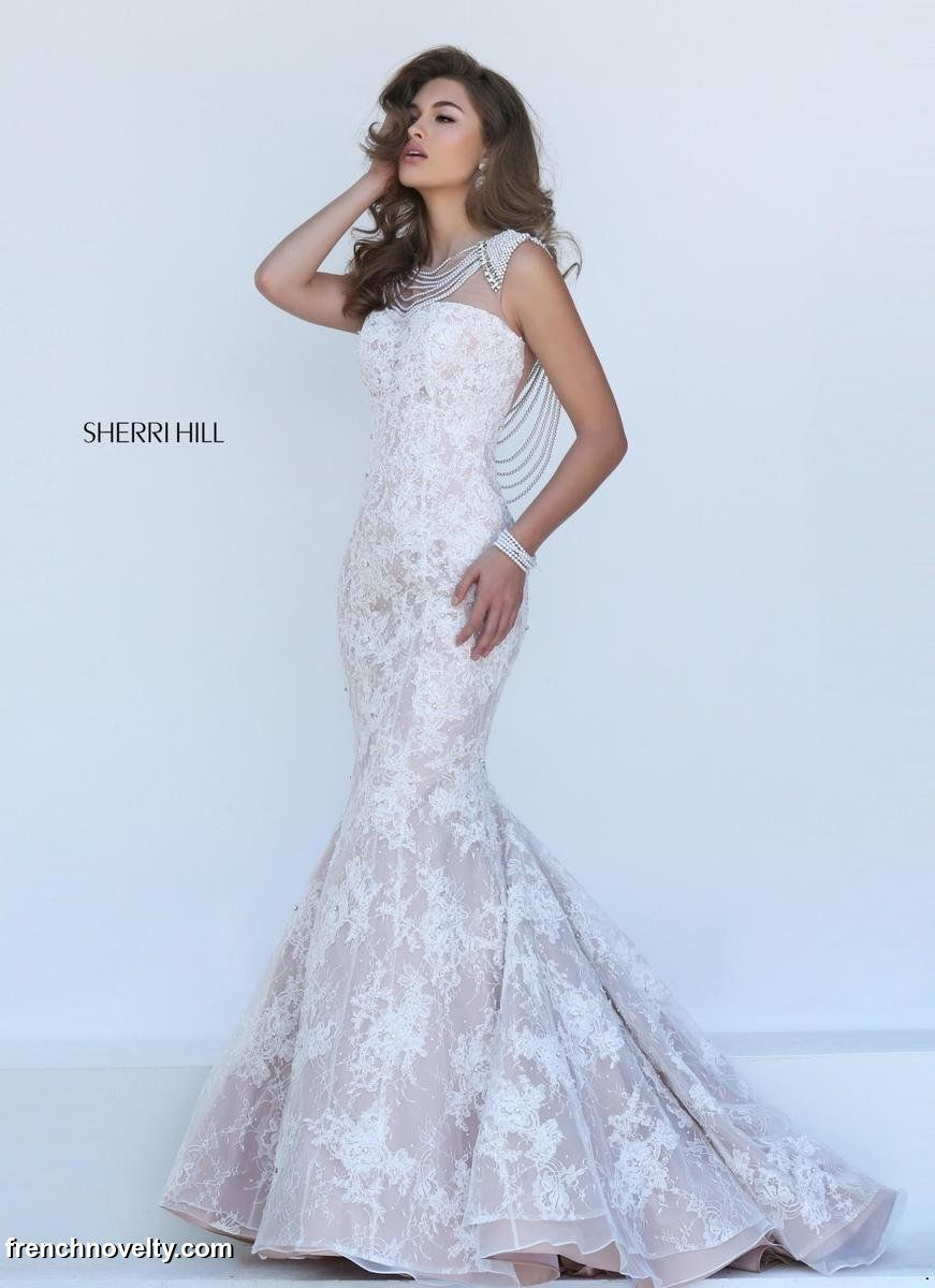 Sherri hill 11334 lace prom gown with pearl trim french for Wedding dresses sherri hill