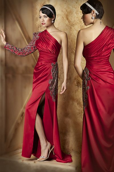 rotes abendkleid  Mac Duggal Couture Regal One-Shoulder Abendkleid